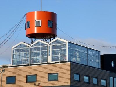 Daktheater glasoverkapping als restaurant met zonwering 1