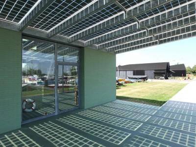 Glazen luifel constsructie met BIPV PV panelen 5